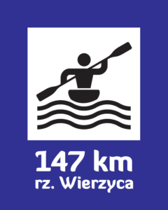 Trail sign with kilometers upstream