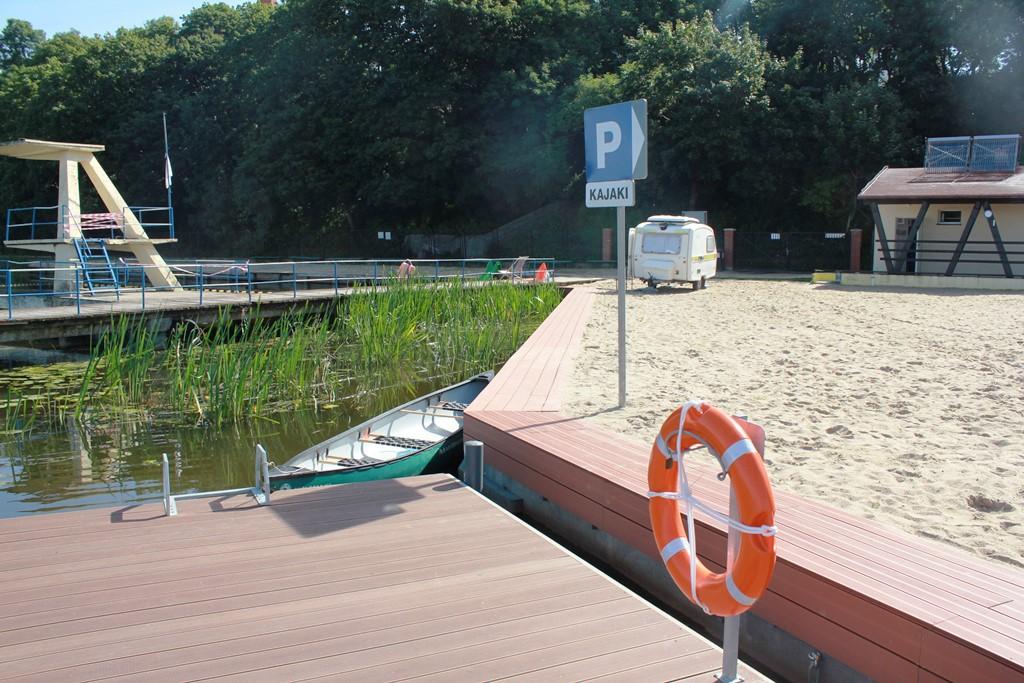 Przystań kajakowa na terenie plaży miejskiej w Malborku